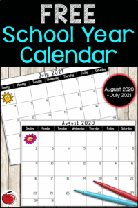 Free school year calendar from Terri's Teaching Treasures