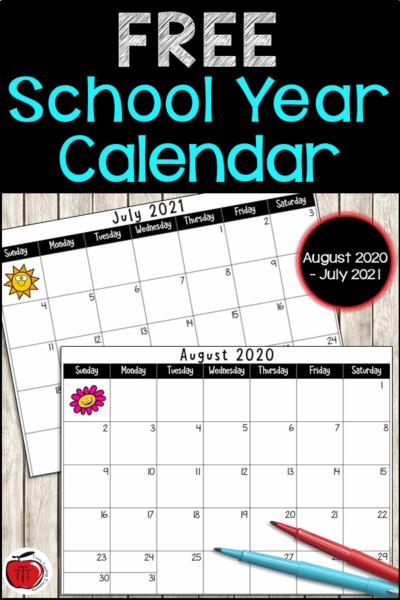 Free school year calendar from Terri's Teaching Treasures