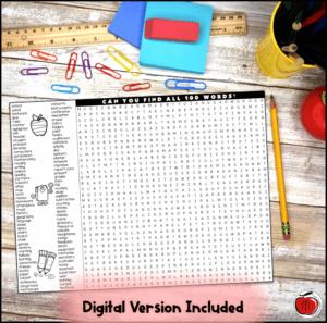 free back to school word search digital and printable Terri's Teaching Treasures