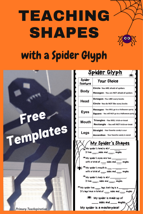 A geometric spider craftivity and spider glyph #spidercraftivityfreebie #spiderglyph #Octoberclassroomdecor