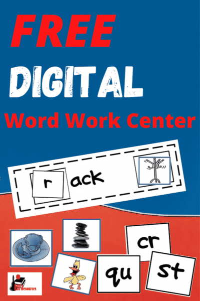 Free digital word work center for the ACK word family