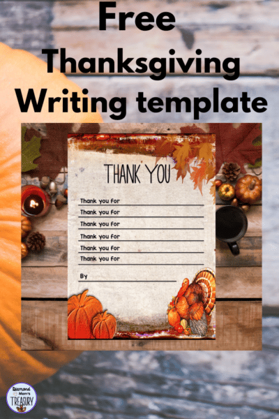 "Thanksgiving writing template ""Thank you for"" to use with young writers who need a scaffold."