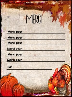 """Thanksgiving writing template """"Merci pour"""" to use with young writers who need a scaffold."""