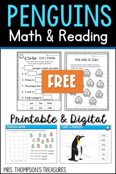 Penguin Math and Reading Activities