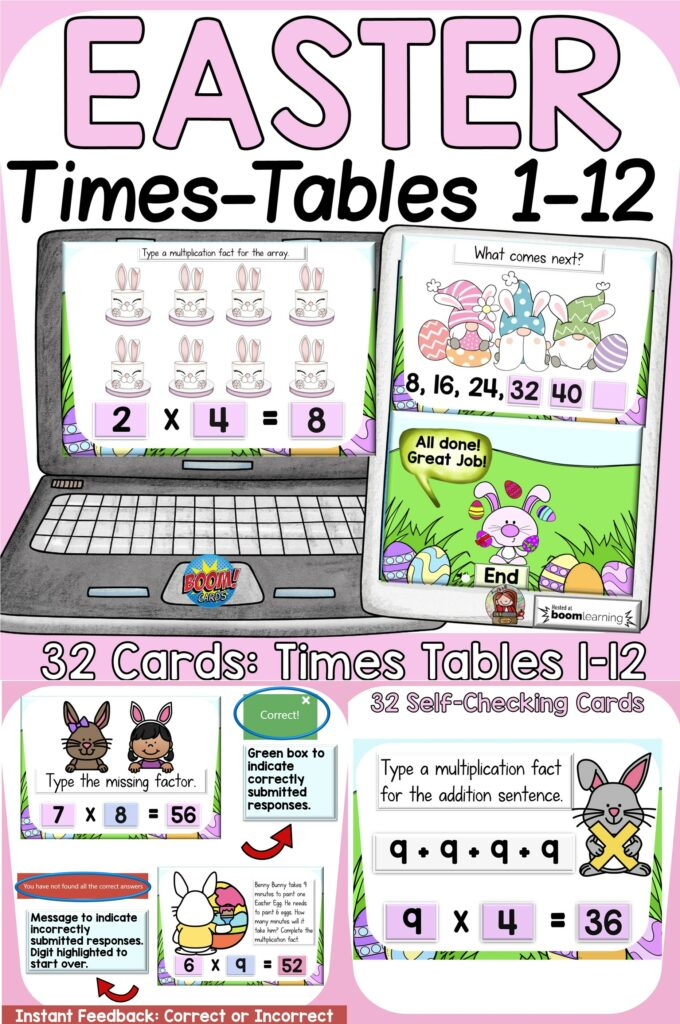 Easter time tables math multiplication activity