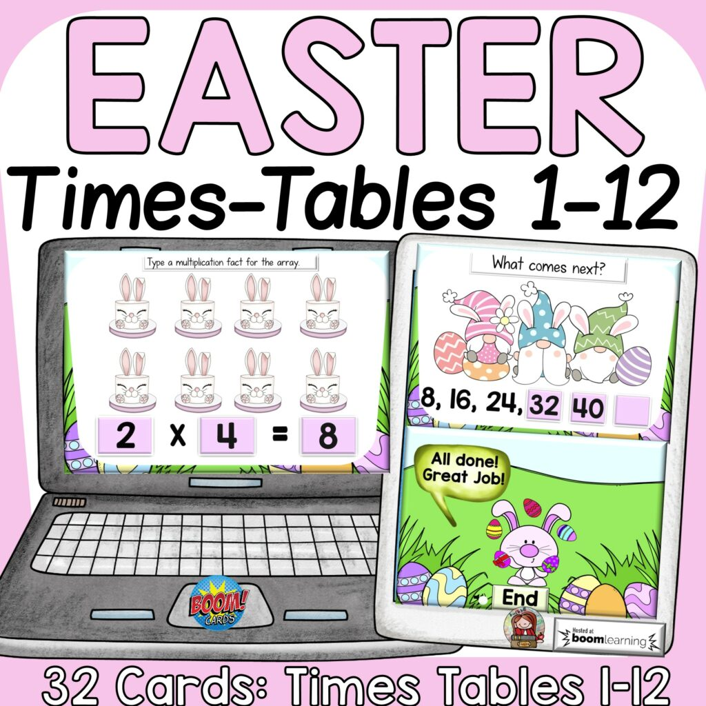 math multiplication Easter time tables activity