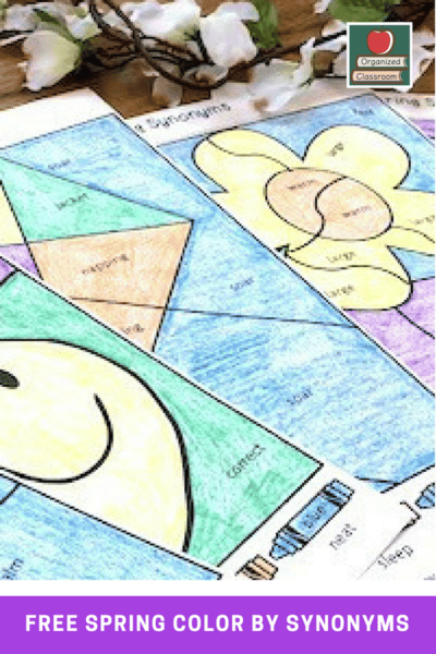 Synonym Mystery Color Worksheet