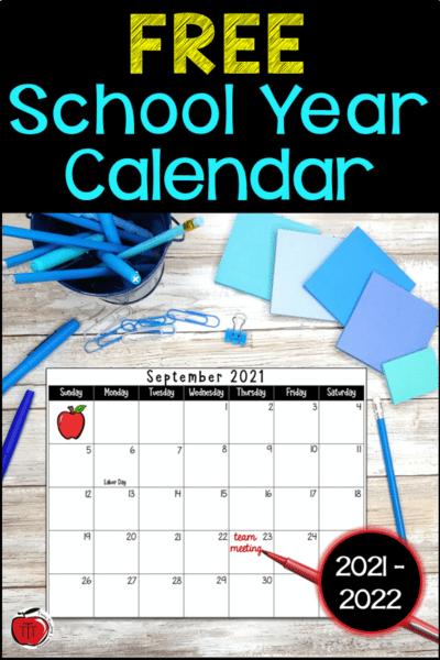 Free 2021-2022 academic calendar Terri's Teaching Treasures