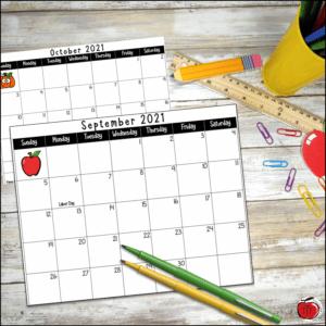 Free academic calendar for 2021-2022 school year Terri's Teaching Treasures
