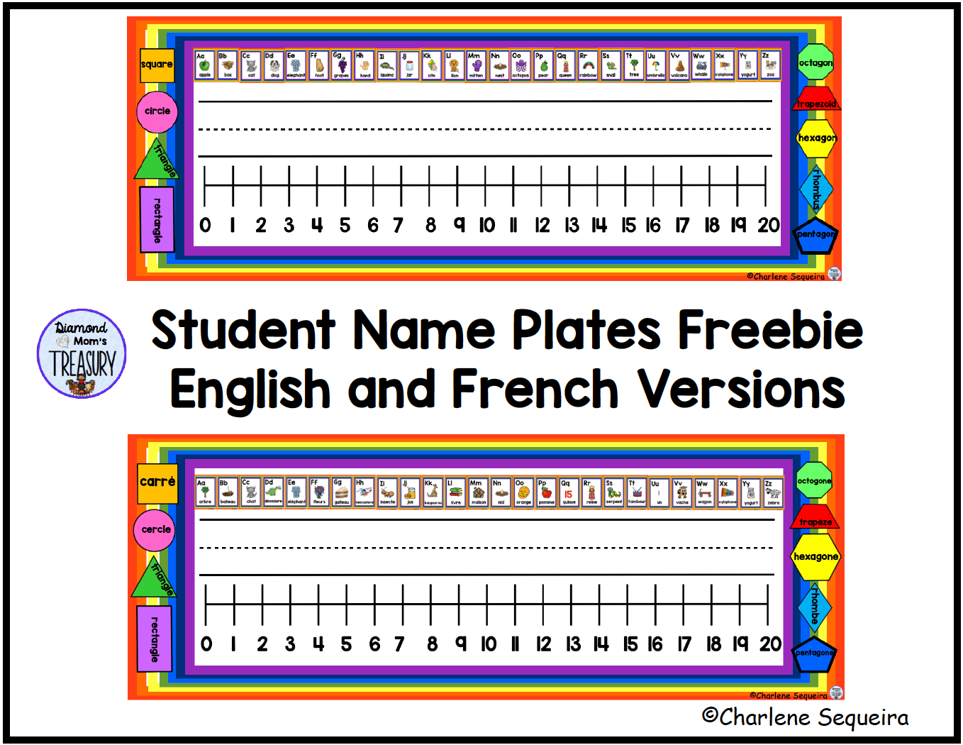 name plates for classroom desks in English and French