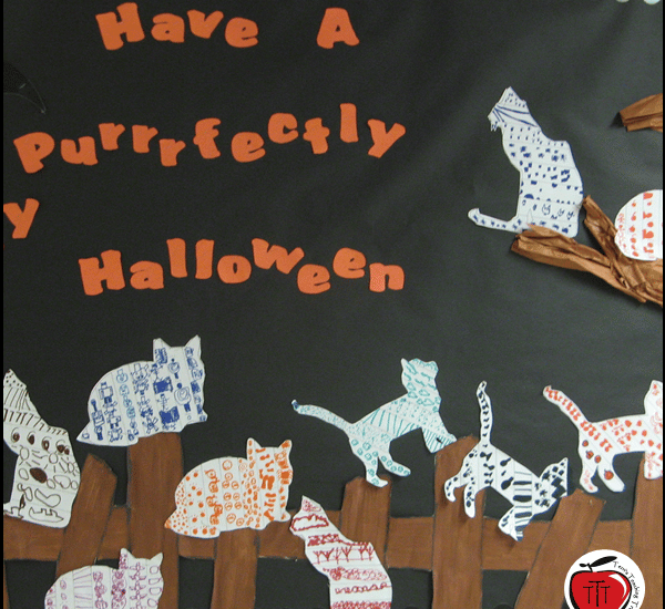 line design Halloween cats art project free templates and instructions by Terri's Teaching Treasures