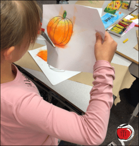 Step by step instruction to create midnight pumpkin oil pastel art project Terri's Teaching Treasures